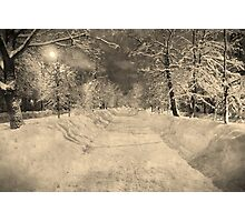 Wonderful winter night in Russia, vintage style Photographic Print