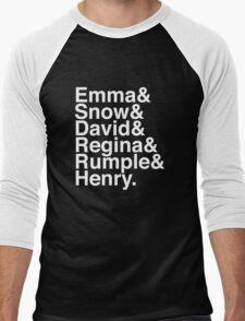 Emma & Snow & David & Regina & Rumple & Henry. (OUAT) (Inverse) Men's Baseball ¾ T-Shirt