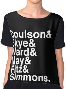 Coulson & Skye & Ward & May & Fitz & Simmons. (Agents of Shield) (Inverse) Chiffon Top