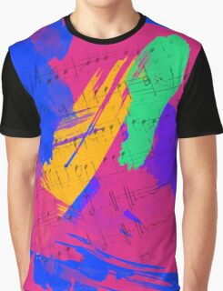 Wild Paint Brush Colors and Music Sheets Graphic T-Shirt