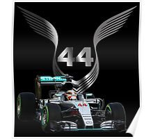 Lewis Hamilton 2016 F1 car driving Poster