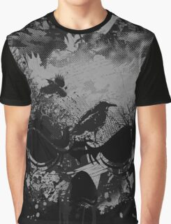 Skull with Crows - Grunge Graphic T-Shirt
