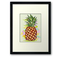 Cute Colorful  Pineapple Watercolors Illustration Framed Print