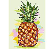 Cute Colorful  Pineapple Watercolors Illustration Photographic Print