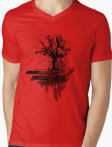 Grunge Tree Mens V-Neck T-Shirt