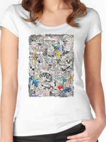 Fun Kamasutra Bodies Figures Doodle in Color Women's Fitted Scoop T-Shirt