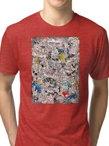 Fun Kamasutra Bodies Figures Doodle in Color Tri-blend T-Shirt