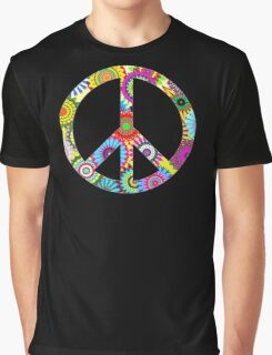 Cool Retro Flowers Peace Sign - T-Shirt and Stickers Graphic T-Shirt