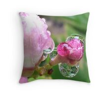 Rose bud droplets Throw Pillow