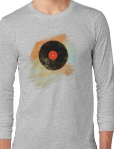 Vinyl Record Retro T-Shirt - Vinyl Records Modern Grunge Design Long Sleeve T-Shirt