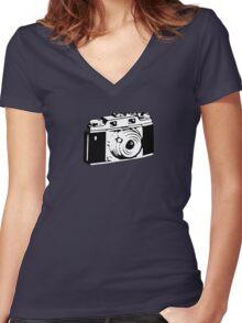 Retro Camera - Photographer T-Shirt Sticker Women's Fitted V-Neck T-Shirt