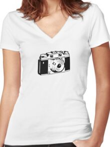 Retro Camera - Photographer T-Shirt Sticker Women's Fitted V-Neck T-Shirt