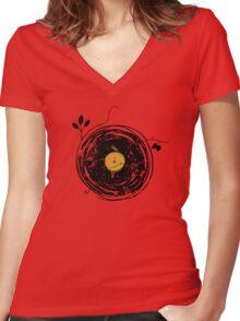 Enchanting Vinyl Records Vintage Women's Fitted V-Neck T-Shirt