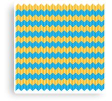 simple yellow and blue knit pattern Canvas Print