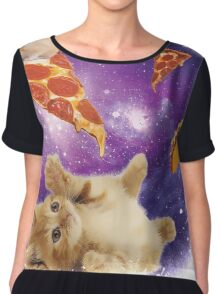 Cat in Space with Pizza and Tacos Chiffon Top