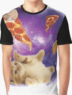 Cat in Space with Pizza and Tacos Graphic T-Shirt