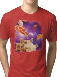 Cat in Space with Pizza and Tacos Tri-blend T-Shirt