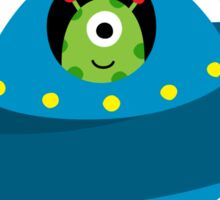 Cute alien in flying saucer type spaceship sticker Sticker