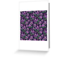 A watercolor seamless pattern of pink rhododendron flowers, branches of green leaves Greeting Card