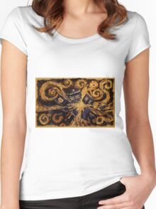 Doctor Who- Van Gogh Exploding Tardis Women's Fitted Scoop T-Shirt