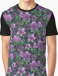 A watercolor seamless pattern of pink rhododendron flowers, branches of green leaves Graphic T-Shirt