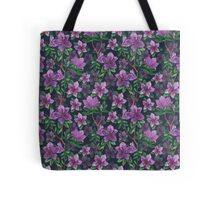 A watercolor seamless pattern of pink rhododendron flowers, branches of green leaves Tote Bag