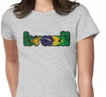 Brazil Text Flag Womens Fitted T-Shirt