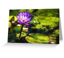 Waterlilies Impressions – Sunny Purple Pair Greeting Card