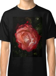 A Wonderful Cream-and-Red Rose With Dewdrops Classic T-Shirt