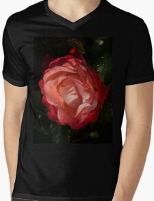 A Wonderful Cream-and-Red Rose With Dewdrops Mens V-Neck T-Shirt