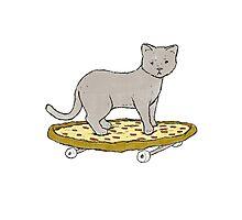 Cat Skateboarding on Pizza Photographic Print