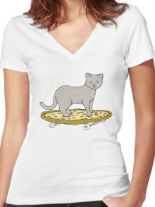 Cat Skateboarding on Pizza Women's Fitted V-Neck T-Shirt