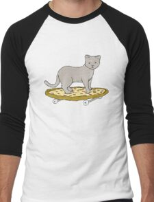 Cat Skateboarding on Pizza Men's Baseball ¾ T-Shirt