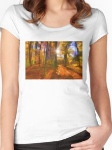 Brilliant, Colorful Autumn Forest Impression Women's Fitted Scoop T-Shirt