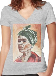 The Essence of Africa - Ethnic series Women's Fitted V-Neck T-Shirt