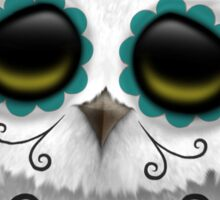 Cute Teal Blue Day of the Dead Sugar Skull Owl Sticker