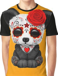 Red Day of the Dead Sugar Skull Panda on Yellow Graphic T-Shirt