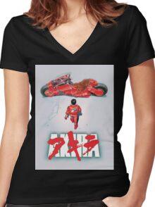 AKIRA - LOGO / ORIGINAL TSHIRT (HIGH QUALITY)  Women's Fitted V-Neck T-Shirt