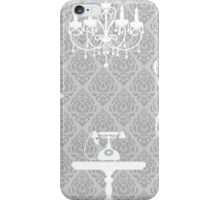 Vintage,victorian,grey,white,furniture,telephone,mirror,chandelier, chic,elegant,trendy,pattern iPhone Case/Skin
