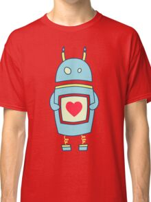 Blue Cute Clumsy Robot With Heart Classic T-Shirt