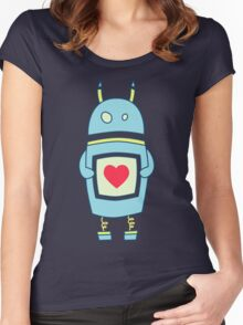 Blue Cute Clumsy Robot With Heart Women's Fitted Scoop T-Shirt