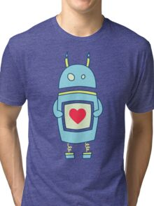 Blue Cute Clumsy Robot With Heart Tri-blend T-Shirt