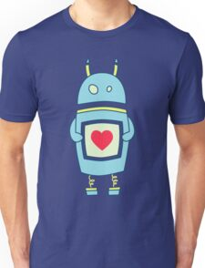 Blue Cute Clumsy Robot With Heart Unisex T-Shirt