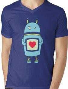 Blue Cute Clumsy Robot With Heart Mens V-Neck T-Shirt