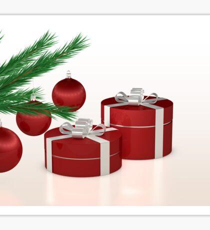 Christmas gift, red balls and fir branch  Sticker