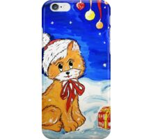 illustration of a Christmas kitten with gift box iPhone Case/Skin
