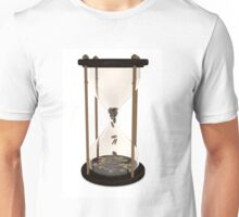 Hourglasses and coin On a wooden table Unisex T-Shirt