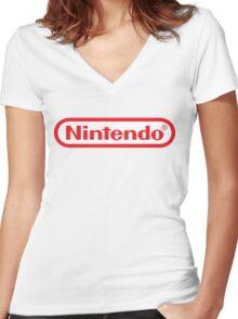 Retro NES Nintendo Logo Women's Fitted V-Neck T-Shirt
