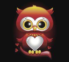 Baby Owl Love Heart Cartoon  One Piece - Short Sleeve