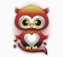 Baby Owl Love Heart Cartoon  One Piece - Short Sleeve